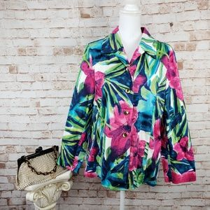 Chicos Additions XL Floral Tropical Jacket NWOT
